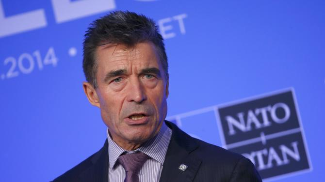 NATO Secretary-General Anders Fogh Rasmussen speaks during a news conference on the second and final day of the NATO summit at the Celtic Manor resort, near Newport