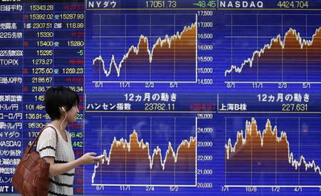 A pedestrian looks at an electronic board showing stock market indices outside a brokerage in Tokyo