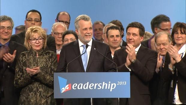 Newly elected Quebec Liberal Party leader Philippe Couillard invited members of the party to share the stage with him as he gave his acceptance speech.