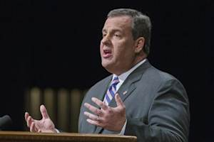 New Jersey Governor Chris Christie speak after his swearing in ceremony inside of the Patriots Theater at the War Memorial in Trenton, New Jersey