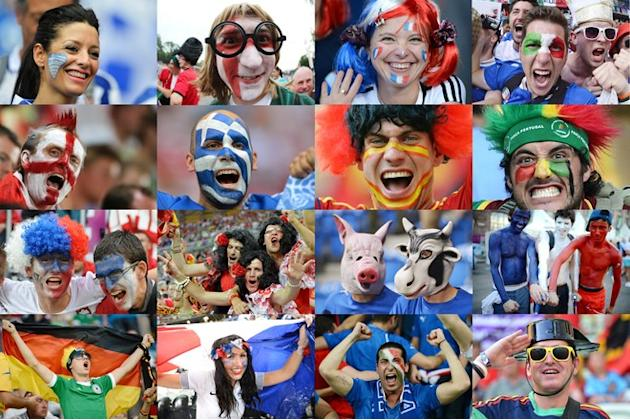 Supporters From Countries Qualified For Quarter Final Matches Of The Euro 2012 Football Championships. AFP PHOTO-/AFP/ AFP/Getty Images