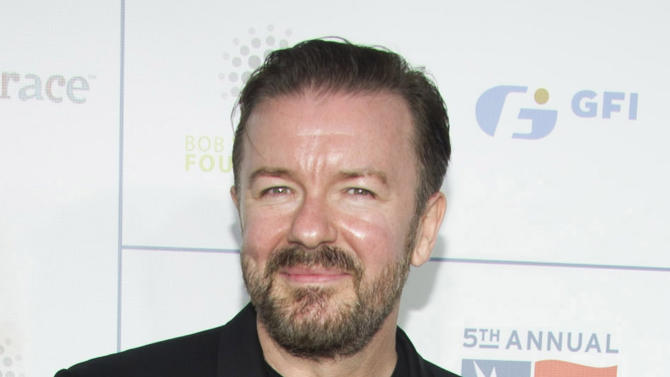 """FILE - This Nov. 9, 2011 file photo shows British actor-comedian Ricky Gervais at the New York Comedy Festival's Stand Up For Heroes benefit in New York. Gervais announced Tuesday, July 31, 2012, on his blog that he's working on a Web series called """"Learn English with Ricky Gervais."""" It co-stars Gervais' frequent collaborator and foil Karl Pinkington.  (AP Photo/Charles Sykes, file)"""