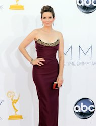 Tina Fey arrives at the 64th Primetime Emmy Awards at the Nokia Theatre on Sunday, Sept. 23, 2012, in Los Angeles. (Photo by Matt Sayles/Invision/AP)
