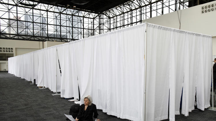 A woman looks at a list of employers behind recruiters booths during the 2009 CUNY Big Apple Job Fair in New York