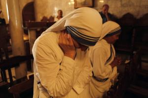 Missionaries of Charity nuns attend a religious service …