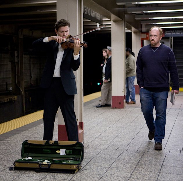 "Filip Pogady and Louis C. K. in ""Louie."""