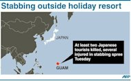Graphic showing Guam, where at least two Japanese tourists were killed in a stabbing spree outside a resort late Tuesday