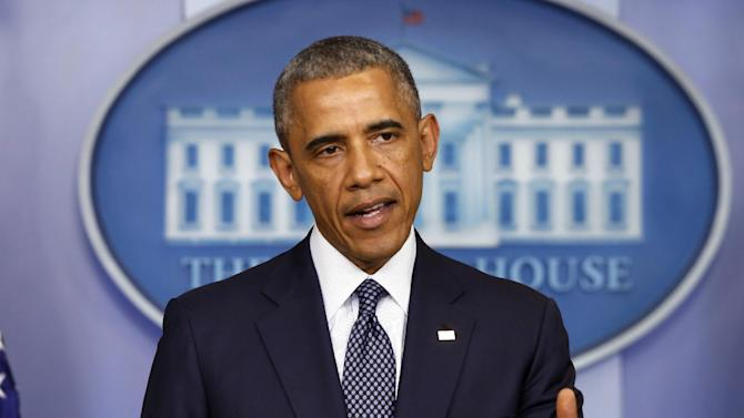 President Barack Obama speaks about the Israel Palestinian conflict and escalating sanctions against Russia in response to the crisis in Ukraine in the James Brady Press Briefing Room at the White House in Washington, Wednesday, July 16, 2014. (AP Photo/Charles Dharapak)