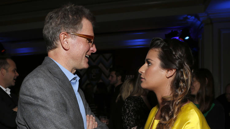 Chairman of Entertainment, FOX Broadcasting Company, Kevin Reilly and Lea Michelle attend the Fox Winter TCA All Star Party at the Langham Huntington Hotel on Tuesday, Jan. 8, 2013, in Pasadena, Calif. (Photo by Todd Williamson/Invision/AP)
