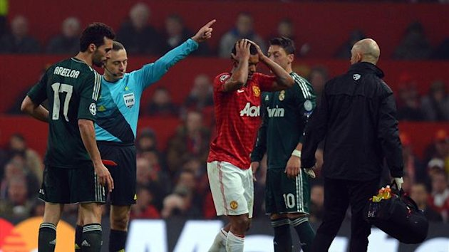 Nani is sent off by referee Cuneyt Cakir in Manchester United's Champions League match at home to Real Madrid (AFP)