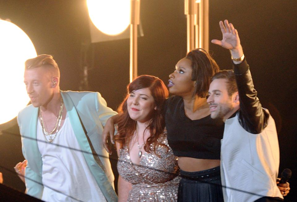 Macklemore, from left, Mary Lambert, Jennifer Hudson and Ryan Lewis perform at the MTV Video Music Awards on Sunday, Aug. 25, 2013, at the Barclays Center in the Brooklyn borough of New York. (Photo by Charles Sykes/Invision/AP)