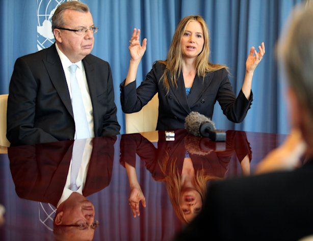 "UNODC's Executive Director Yury Fedotv, left, and US actress Mira Sorvino, a UN Goodwill Ambassador to combat human trafficking for the United Nations Office on Drugs and Crime, UNODC, attend an interview by the Associated Press at the United Nations in Vienna, Austria, Friday, Feb. 8, 2013. ""I love acting and that is my job right now,"" Sorvino says. At the same time, she describes her advocacy against human trafficking and modern-day slavery as ""my calling,"" and so important that ""in a decade or so, I wouldn't mind just switching to a career in humanitarian causes."" (AP Photo/Alexander Mueller)"