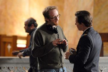 Director James Gray and Mark Wahlberg on the set of Columbia Pictures' We Own the Night