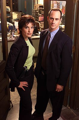 Mariska Hargitay as Detective Olivia Benson and Christopher Meloni as Detective Elliot Stabler