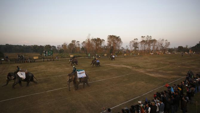 People watch elephants race towards the finishing line during an Elephant Festival event at Sauraha in Chitwan