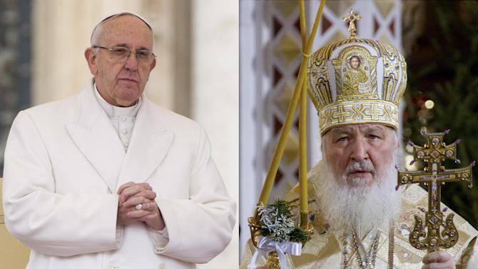 FILE - In this file photo combination Russian Orthodox Patriarch Kirill, right, serves the Christmas Mass in the Christ the Savior Cathedral in Moscow, Russia, on Thursday, Jan. 7, 2016 and Pope Francis prays during an audience at the Vatican on Saturday, Jan. 30, 2016. Pope Francis and the leader of the Russian Orthodox Church will meet in Cuba next week in a historic step to heal the 1,000-year-old schism that divided Christianity between East and West, both churches announced Friday, Feb. 5, 2016. (AP Photo/Ivan Sekretarev/Andrew Medichini, Files)