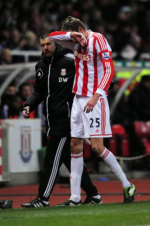Peter Crouch lost two teeth following a clash with Newcastle's Fabricio Coloccini