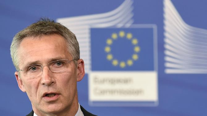 NATO Secretary General Jens Stoltenberg speaks during a press conference at EU headquarters in Brussels on June 16, 2015