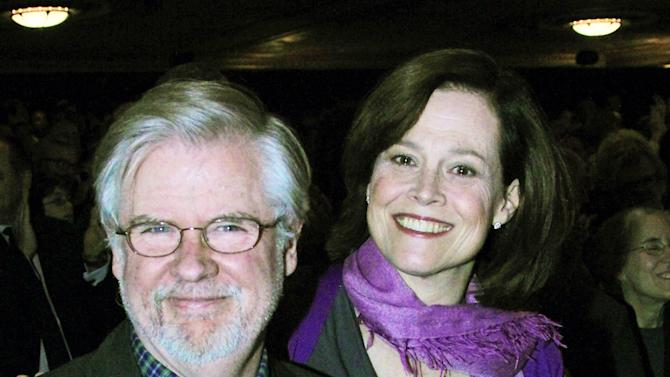 """This publicity image released by The O + M Company shows playwright Christopher Durang, left, with actress Sigourney Weaver at curtain call on opening night of """"Vanya and Sonia and Masha and Spike"""". (AP Photo/The O + M Company, Bruce Glikas)"""
