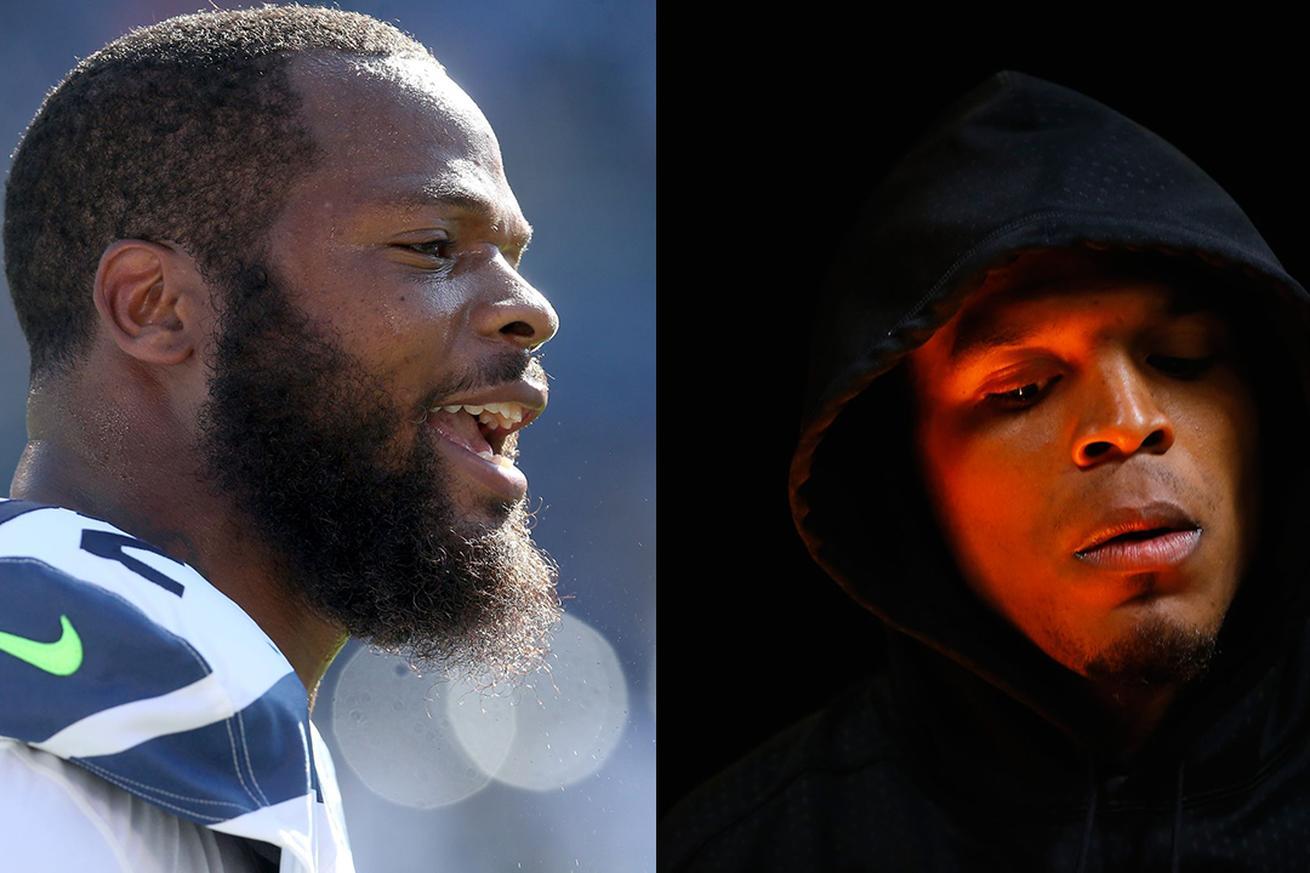 Seahawks' Michael Bennett calls Cam Newton a 'sore loser' during award speech