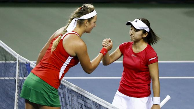 Azarenka of Belarus shakes hands with defeating Misaki Dori of Japan after their FedCup match in Tokyo