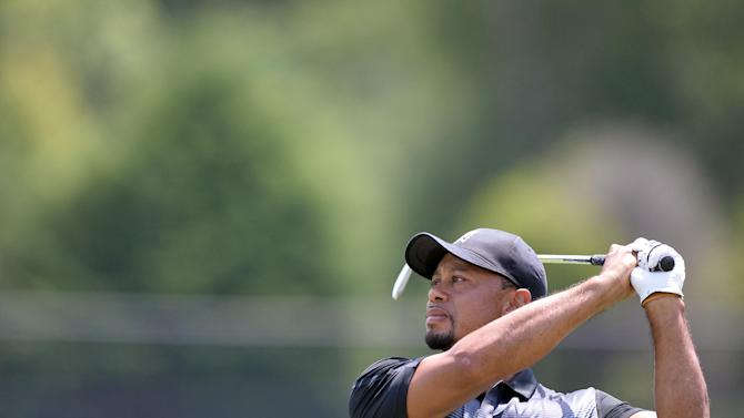 US golfer Tiger Woods during his practice at the Congressional Country Club in Bethesda, Maryland on June 24, 2014