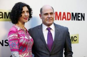 "File photo of Weiner and his wife Linda Brettler pose at the premiere for the seventh season of the television series ""Mad Men"" in Los Angeles"