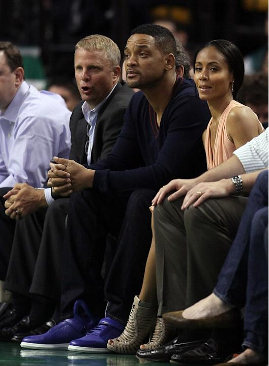 Actors Will Smith And Jada Pinkett Smith Attend Game Five Of The Eastern Conference Semifinals In The 2012 NBA Getty Images