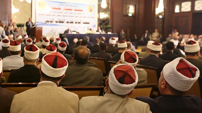 Muslim scholars attending a conference held by the Awqaf (Religious Affairs) Ministry headquarters in Cairo