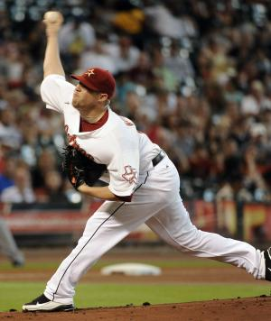 Houston Astros' Bud Norris  throws during a baseball game against the Milwaukee Brewers, Saturday, Sept. 3, 2011, in Houston. (AP Photo/Pat Sullivan)