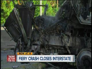 One lane on southbound I-75 in Pasco County open after fiery crash
