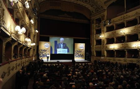 Outgoing Prime minister Mario Monti speaks during a rally in Florence, February 22, 2013. Italians vote on Sunday and Monday for a successor to Mario Monti&#39;s technocrat government whose austerity policies saved Italy from a Greek-style debt crisis but did nothing to pull it out of deep recession.REUTERS/Jennifer Lorenzini