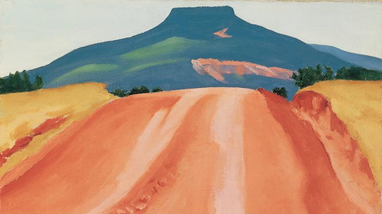 "This image provided by the Georgia O'Keeffe Museum shows ""Road to Pedernal,"" 1941, Georgia O'Keeffe Museum, gift of The Georgia O'Keeffe Foundation. A new exhibition highlighting the remote stretches of desert artist Georgia O'Keeffe called ""the faraway"" and the paintings those places inspired opens May 11, 2012, at the museum in Santa Fe, N.M. (AP Photo/Georgia O'Keeffe Museum)"
