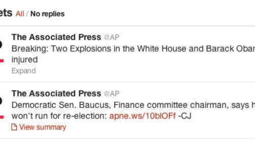 Look What the Hacked AP Tweet About White House Bombs Did to the Market