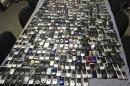Handout photo shows mobile phones seized by Mississippi authorities at prisons across the state