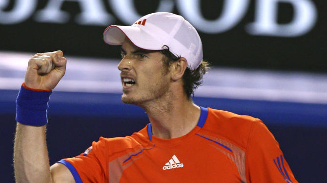 Andy Murray of Britain reacts after winning a point against Novak Djokovic of Serbia during their semifinal at the Australian Open tennis championship, in Melbourne, Australia, Friday, Jan. 27, 2012. (AP Photo/Rick Rycroft)