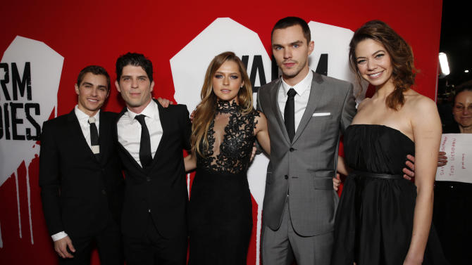 """Dave Franco, Director Jonathan Levine, Teresa Palmer, Nicholas Hoult and Analeigh Tipton attend the LA Premiere of """"Warm Bodies"""" at the ArcLight Cinerama Dome on Tuesday, Jan. 29, 2013 in Los Angeles, California. (Photo by Todd Williamson/Invision for The Hollywood Reporter/AP Images)"""