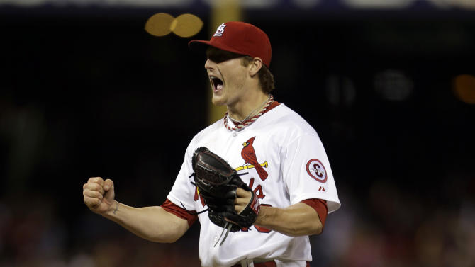 St. Louis Cardinals starting pitcher Shelby Miller celebrates after throwing a complete baseball game against the Colorado Rockies, Friday, May 10, 2013, in St. Louis. Miller gave up one hit in the 3-0 victory. (AP Photo/Jeff Roberson)