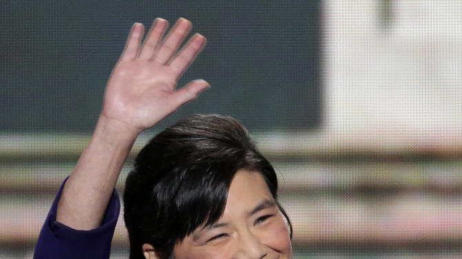 Rep. Judy Chu of California waves to the delegates before addressing the Democratic National Convention in Charlotte, N.C., on Wednesday, Sept. 5, 2012. (AP Photo/J. Scott Applewhite)