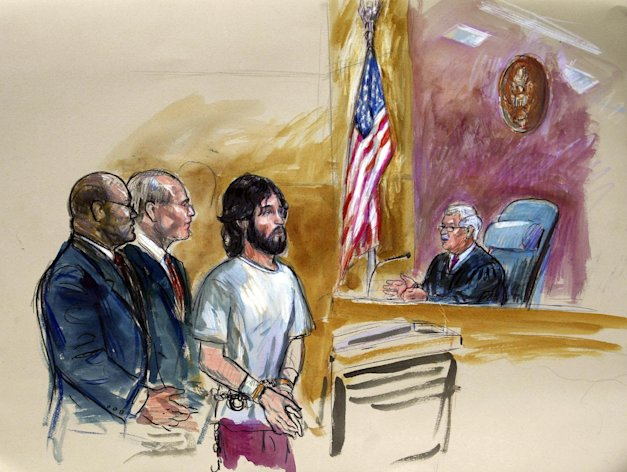 FILE - This Nov. 21, 2011 file artist rendering shows accused White House shooter Oscar Ramiro Ortega-Hernandez, center, before Magistrate Judge Alan Kay, left, in Washington. From left are, U.S. Assistant Attorney George P. Varghese, a public defender David Bos, Ortega-Hernandez, and Judge Kay. A new court document says that an Idaho man charged with attempting to assassinate President Barack Obama by shooting at the White House practiced with his weapon for six months and may have been upset about the country's marijuana policy. Oscar Ramiro Ortega-Hernandez is currently awaiting trial for the 2011 shooting, which didn't injure anyone but left more than five bullet marks on the executive mansion. A court document prosecutors filed Tuesday adds additional detail about the shooting, which took place while the president and first lady were away from home. (AP Photo/Dana Verkouteren, File)