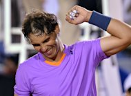 Spanish tennis player Rafael Nadal celebrates victory over France's Jeremy Chardy in Vina del Mar, Chile, on February 9, 2013. Nadal looked sharp as he beat Chardy 6-2, 6-2 to reach the final