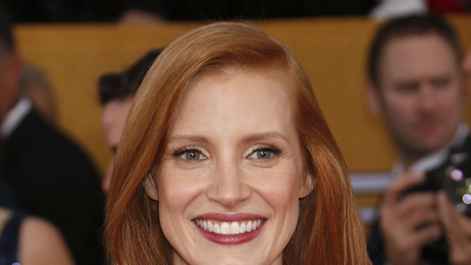 Jessica Chastain arrives at the 19th Annual Screen Actors Guild Awards at the Shrine Auditorium in Los Angeles on Sunday Jan. 27, 2013. (Photo by Todd Williamson/Invision for The Hollywood Reporter/AP Images)