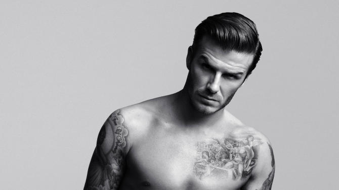 """FILE - This undated product photo provided by H&M shows a look from an underwear collection created and modeled by soccer star David Beckham. Beckham says he's in the underwear game for the long haul, looking forward to advancing his bodywear partnership with H&M. The soccer star's second set of ads for his branded collection launch Thursday. They'll coincide with a """"statue stunt"""" planned by the retailer with larger-than-life Beckhams going up in New York, Los Angeles and San Francisco.  (AP Photo/H&M, Alasdair McLellan)"""