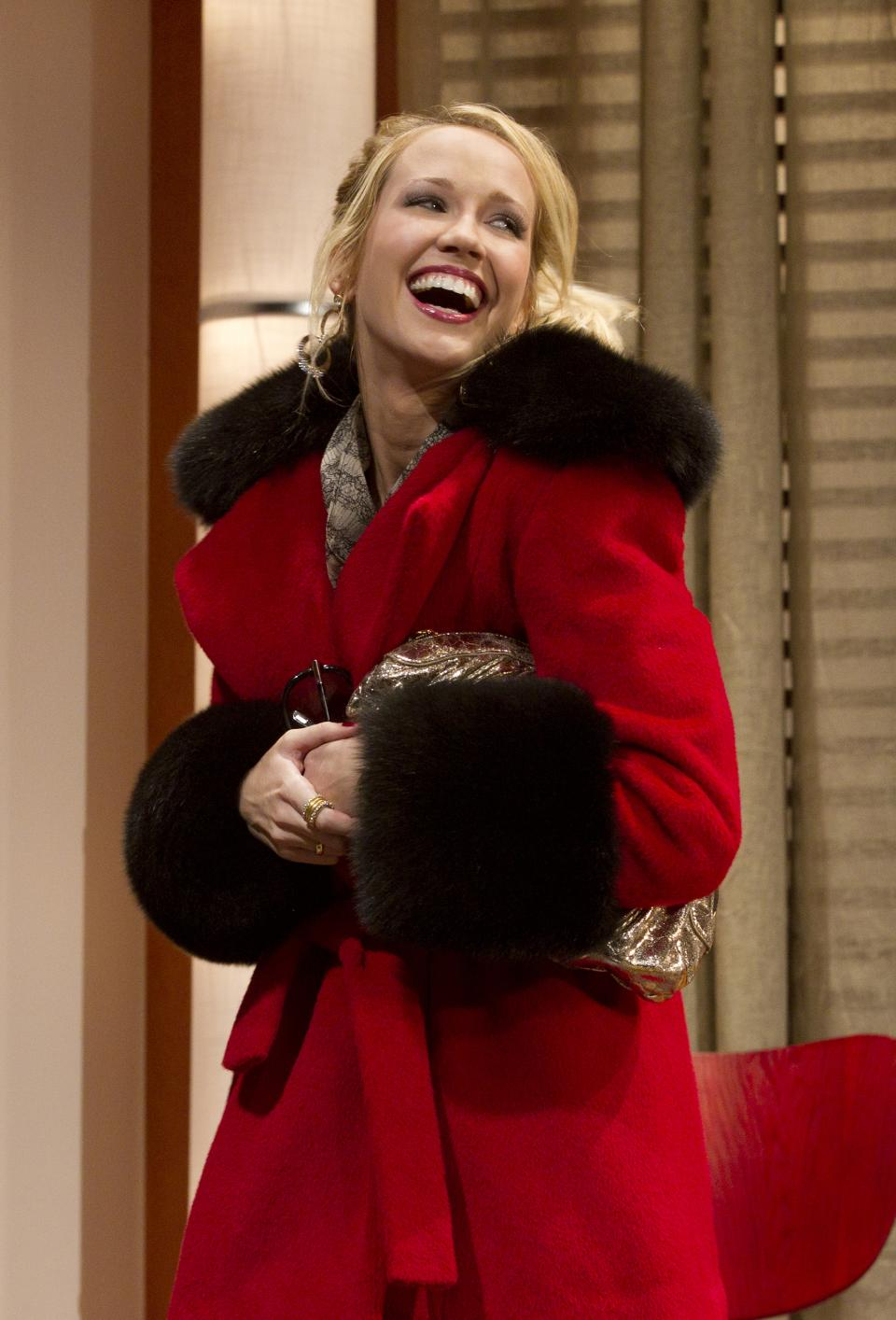 "In this theater publicity image released by The Hartman Group, Anna Camp is shown in a scene from Zach Braff's play, ""All New People,"" in New York. (AP Photo/The Hartman Group, Joan Marcus)"