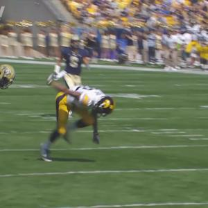 Pitt's Lafayette PItts Steals Catch from Iowa for Amazing Interception | ACC Must See Moment