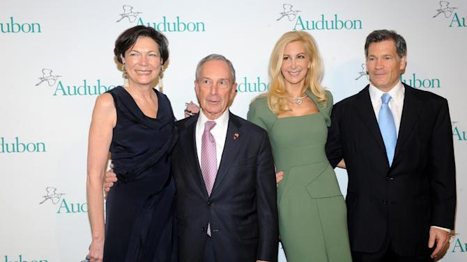 New York City Mayor Michael Bloomberg and Diana Taylor, left,  and Gabrielle and Louis Bacon, right, attend The National Audubon Society's first gala to jointly award the Audubon Medal and the inaugural Dan W. Lufkin Prize for Environmental Leadership, Thursday, Jan. 17, 2013, in New York.  (Photo by Diane Bondareff/Invision for The National Audubon Society/AP Images)