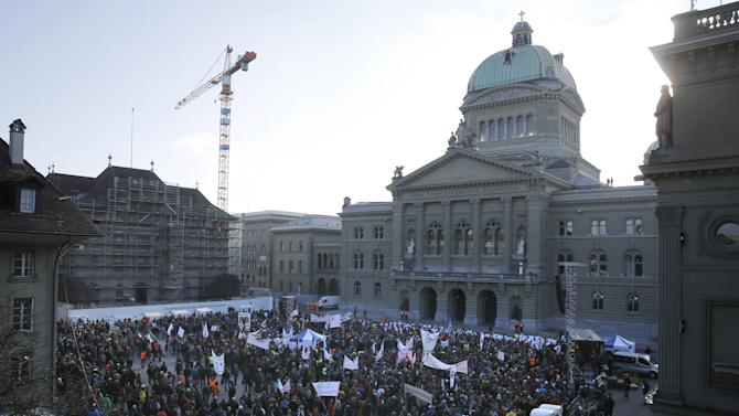Farmers and supporters demonstrate against the new savings measures announced by the Swiss Federal Council in Bern