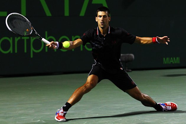 Novak Djokovic Of Serbia In Action Against David Ferrer Of Spain Getty Images