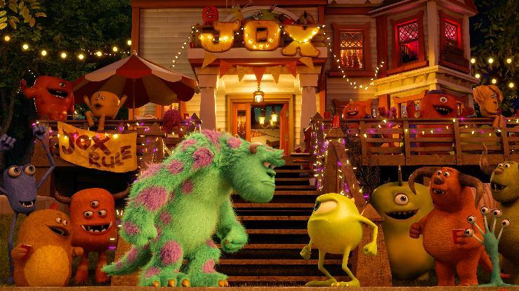 "This film publicity image released by Disney-Pixar shows characters Sulley, center left, voiced by John Goodman, and Mike, center left, voiced by Billy Crystal in a scene from ""Monsters University."" (AP Photo/Disney-Pixar)"