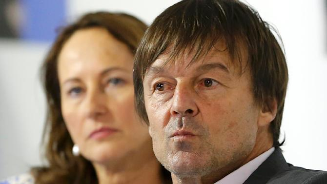 French environmental activist and special envoy for the protection of the planet Hulot and French Ecology Minister Royal attend the World Climate Change Conference 2015 (COP21) at Le Bourget, near Paris